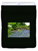 Texas Bluebonnets And Stone Wall Duvet Cover