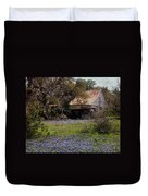 Texas Bluebonnets With Old Abandoned Shack Duvet Cover