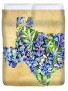 Texas Blues Texas Map Duvet Cover