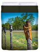 Texas Boot Fence Duvet Cover