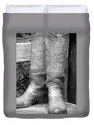 Texas Boots Portrait - Bw 03 Duvet Cover