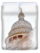 Texas Capitol Sketch Duvet Cover