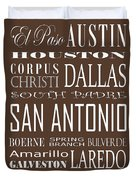 Texas Cities On Brown Duvet Cover