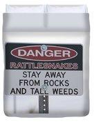 Texas Danger Rattle Snakes Signage Duvet Cover