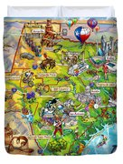 Texas Illustrated Map Duvet Cover