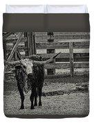 Texas Longhorn Black And White Duvet Cover
