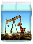 Texas Pumping Unit Duvet Cover by Kathy  White