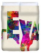 Texas Typographic Watercolor Flag Duvet Cover