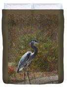 Textured Blue Heron Duvet Cover