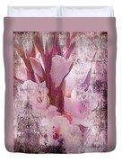 Textured Pink Gladiolas Duvet Cover