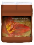 Textured Red Daylily With Verse Duvet Cover