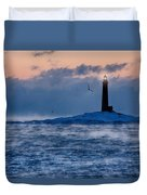 Thacher Island Lighthouse Seagull Passes Duvet Cover