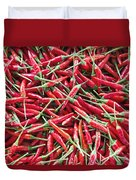 Thai Chili Peppers Background Duvet Cover
