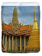 Thai-khmer Pagoda And Golden Chedis At Grand Palace Of Thailand  Duvet Cover