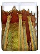Thai-kmer Pagoda Columns At Grand Palace Of Thailand In Bangkok Duvet Cover