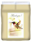 Thank You Card - Bird - Hummingbird Duvet Cover