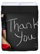 Thank You Sign On Chalkboard Duvet Cover