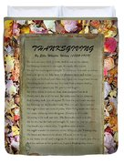 Thanksgiving By Ella Wheeler Wilcox Duvet Cover