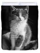 Thanksgiving Kitty Bw Duvet Cover
