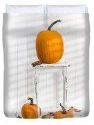 Thanksgiving Pumpkin Display Duvet Cover