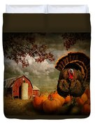 Thanksgiving Turkey Among Pumkins Duvet Cover