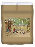 Tharu Farming Village Landscape-nepal Duvet Cover