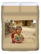 Tharu Village Children Love To Greet Us-nepal- Duvet Cover