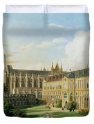 The Abbey Church Of Saint-denis And The School Of The Legion Of Honour In 1840 Oil On Canvas Duvet Cover