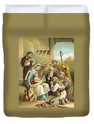 The Adoration Of The Shepherds Duvet Cover by English School