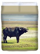 The African Buffalo. Ngorongoro In Tanzania. Duvet Cover