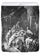 The Albatross Being Fed By The Sailors On The The Ship Marooned In The Frozen Seas Of Antartica Duvet Cover by Gustave Dore