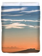 The Alps Sunset Over Fog Duvet Cover