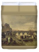 The Ambulance De La Presse At Joinville During The Siege Of Paris Oil On Canvas Duvet Cover