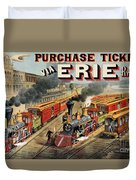 The American Railway Scene  Duvet Cover by Currier and Ives