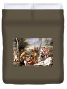 The Andrians A Free Copy After Titian Duvet Cover