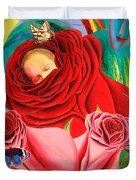 The Angel Of Roses Duvet Cover