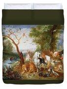 The Animals Entering Noahs Ark Panel Duvet Cover