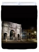 The Arch Of Constantine And The Colosseum At Night Duvet Cover