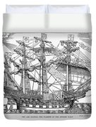 The Ark Raleigh The Flagship Of The English Fleet From Leisure Hour Duvet Cover