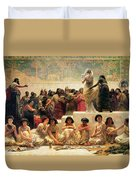 The Babylonian Marriage Market, 1875 Duvet Cover by Edwin Longsden Long