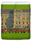 The Band Played On In Front Of Parliament Building In Ottawa-on Duvet Cover