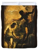 The Baptism Of Christ Duvet Cover by Jacopo Robusti Tintoretto