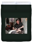 The Barber Shaves Another Customer 02 Duvet Cover