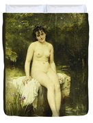 The Bather Duvet Cover by Leon Bazile Perrault