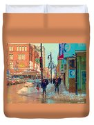 The Bay Department Store Downtown Montreal University And St Catherine Winter City Scene C Spandau  Duvet Cover