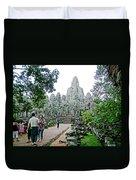 The Bayon In Angkor Thom In Angkor Wat Archeological Park-cambodia Duvet Cover