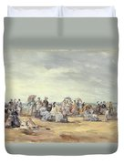 The Beach At Trouville, 1873 Duvet Cover