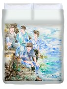 The Beatles At The Sea - Watercolor Portrait Duvet Cover