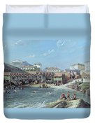 The Beginning Of Sea Swimming In The Old Port Of Biarritz  Duvet Cover