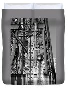 The Bells Of Coney Island In Black And White Duvet Cover